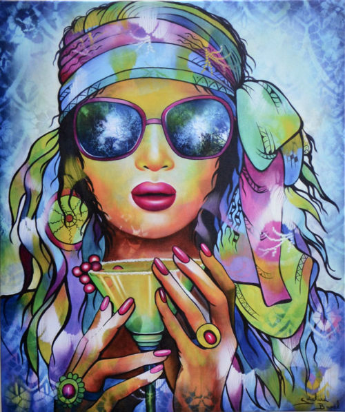 "Impression sur Toile ""Peace and Love"" de Guichard Bunel"