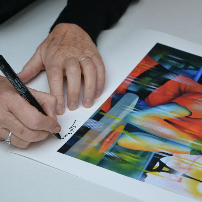 Signature du tirage d'art papier